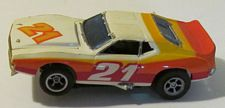 AFX magnatraction Javelin trans-am in white with orange, red, yellow, #21