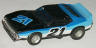 AFX red Javelin trans am, black with blue, light blue, and white, #21.